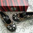 T.U.K. Cat Face Leopord Print Bow Kitty Mary Janes Sneakers Shoes Womens 6 TUK