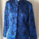 Gay Boyer New York Asian Mandarin Collar Silk Satin Beaded Jacket Womens 10 Blue