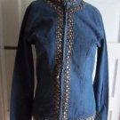 Keren Hart Embellished Trim Denim Blue Jean Jacket Womens S Mandarin Collar
