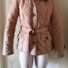 Tommy Hilfiger Quilted/Belted Jacket with Faux Fur Trim Coat Womens M Tan Khaki