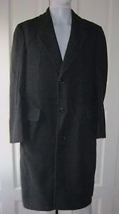 Mens Vintage London Fog 100% Wool Top Dress Overcoat Coat 40R USA Charcoal Gray