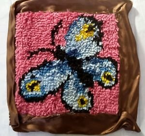 Butterfly Latch Hook Rug Pillow Kit Partially Complete Ribbon Trim Art Handmade