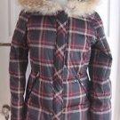 NWT $450 Womens Pendleton Down Genuine Coyote Fur Trim Hooded Plaid Parka Jacket