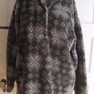 Womens 90s LL Bean Berber Deep Pile Sherpa Fleece Henley Nordic Fair Isle Jacket