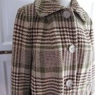 Vintage Womens Pendleton Houndstooth Plaid Winter 100% Virgin Wool Swing Coat L
