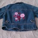 American Girl Brand Girls embroidered Denim jean jacket size Small coat flowers
