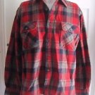 Vintage 60s Mens Woodland Plaid Wool Long Sleeve Button up Front Flannel Shirt M