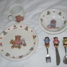 Lillian Vernon Teddy Bears Baby Child's Kids Dishes Plate Bowl Cup Set Flatware