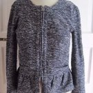 Womens J.Crew Woven Knit Full Zip Up Ruffled Collarless Sweater Boucle Jacket S