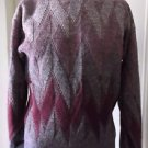 Vintage 60's Madrigal Wool Blend Argyle Knit Crewneck Sweater M Taiwan Cranberry