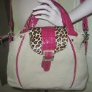 Donald J. Pliner Hot Pink SnakeSkin/Leopard Large Hand Shoulder Bag Tote Purse