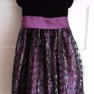 Girls 6x Cinderella Black Velvet Purple Embellished Party Holiday Pageant Dress
