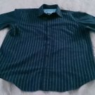 Anchor Blue brand Mens Button-up Short Sleeve Shirt Large striped cotton board