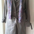 Worthington Double Breasted Insulated Trench Coat Paisley Scarf womens 10 Olive