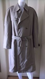 Mens Hart Schaffner & Marx Belk Double Breasted Wool Lined Belted Trench Coat 42