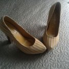 2 lips too sassy canvas striped high heels platform shoes wedge yellow women's 7