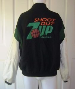 7Up Shoot Out Logo Wool Leather Letterman Varsity Jacket Mens sz XL USA Identity