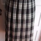 Vintage LL Bean Mid Century Wool Pleated Plaid Skirt Lined Long Made in USA 70s