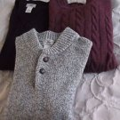 Lot of 3 LL Bean Knit Lambswool Cotton Henley VNeck Pullover Sweater Mens XL USA