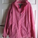 LL Bean Hooded Nylon All Weather Rain Gear Windbreaker jacket Girls 14 16 Pink