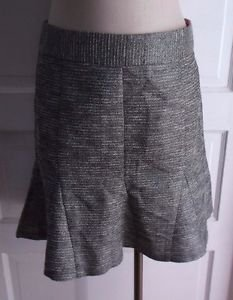NWT $98 Banana Republic Fit & Flare Metallic Woven Striped Short Skirt Women's 8
