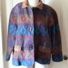 Vintage Woolrich Indian Wool blanket Corduroy Trim coat jacket womens size Large