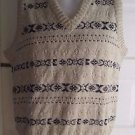 Vintage Mens LL Bean Fair Isle Cotton Jute VNeck Cable knit Sweater Vest L