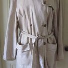 Voyage by Marina Rinaldi Double Breasted Flax Belted Safari Coat Womens L 21