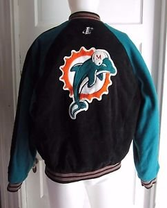NOS Team NFL Logo Athletic Miami Dolphins Wool Leather Varsity Jacket Mens L