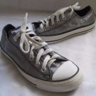 Converse All Star Glitter Sparkly Silver Metallic Low Cut Sneakers Shoes W 7 M 5