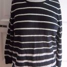Womens L J.Crew 100% Merino Wool Knit Sweater Striped 3/4 Sleeve Scoop Neck Mint