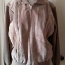 Vintage Oakton Ltd Genuine Leather/Knit Sweater Jacket Full Zip Up Womens XL Tan