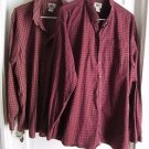 Lot of 2 LL Bean Cotton Plaid Checked Long Sleeve Button Up Front Shirt XXL Tall