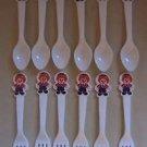 Vintage Raggedy Ann & Andy Forks Spoons Plastic Flatware Bobbs Merrill USA Lot