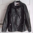 Me Jane Girls Black Vegan Faux Leather Motorcycle Full Zip Up Jacket Coat L 14