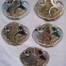 VINTAGE Lot 5 Charmant Beverly Hills Gold Belt Buckles Ocean Egret Crane Birds