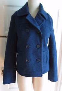 Forever XXI Textured Wool Double Breasted Cropped Peacoat Jacket Womens L Royal