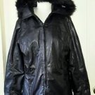 Penmans Hooded Faux Fur/Leather Vinyl  jacket Coat Womens S Removeable Hood