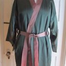Vintage Handmade Silk Satin Smoking Jacket Coat Robe Dressing Gown Sash Mens M