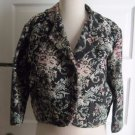 Womens Tapestry Jacquard Woven Cropped 80s 90s Floral Rug Blazer Jacket L Japan