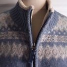 LL Bean Full Zip up Wool Shearling Lined Nordic Cardigan Sweater Jacket Womens M