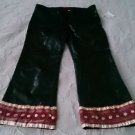 Gigli Jeans Satin Leather Embellished Capris Cropped Pants Womens S Jrs 31 Italy