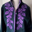 Linea by Louis Dell'Olio Embroidered Leaf Vine Applique Leather Jacket Womens M
