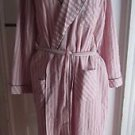 Vermont Country Store Mens Medium Long Sleeve Wrap Striped Seersucker Bath Robe