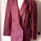 Vintage Georgio Sant Angelo Double Breasted 100% Wool Tartan Plaid Jacket Blazer