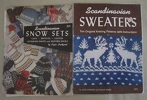 Scandinavian Sweaters Snow Sets Knitting Manual Knit Patterns Vintage Lot 2 40s