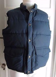 Vintage LL Bean Goose Down Trucker Puffer Winter Snow Zip Snap Up Vest Mens L XL