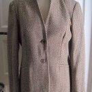 Womens Talbots Petites Wool Cross Hatch Design Mandarin Collar Blazer Jacket 10P