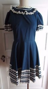 Vintage 50s Swing Rockabilly Square Dance Pin Up Dress sz XS S Navy Lace Ric Rac