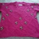 Chelsea Young designer MOHAIR wool Embroidered SWEATER floral Womens Medium pink